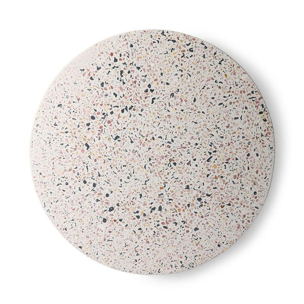 round serving plate with terrazzo look