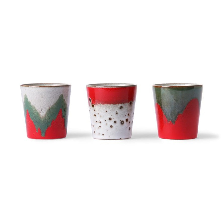 set of 3 ceramics mugs in Christmas colors