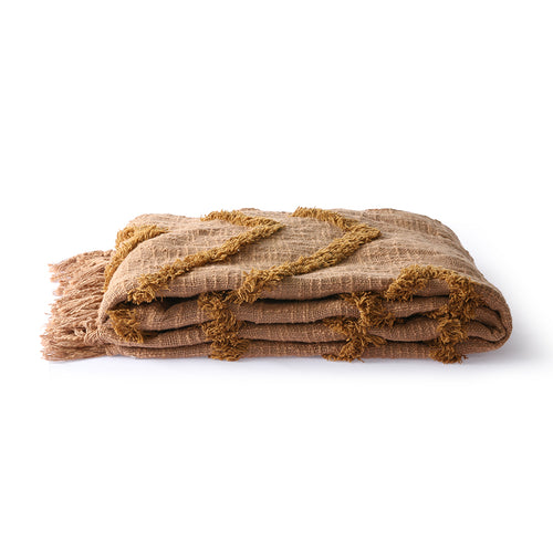 throw blanket in brown color with fringes and texture