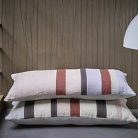 details of cotton and linen striped lumbar pillow