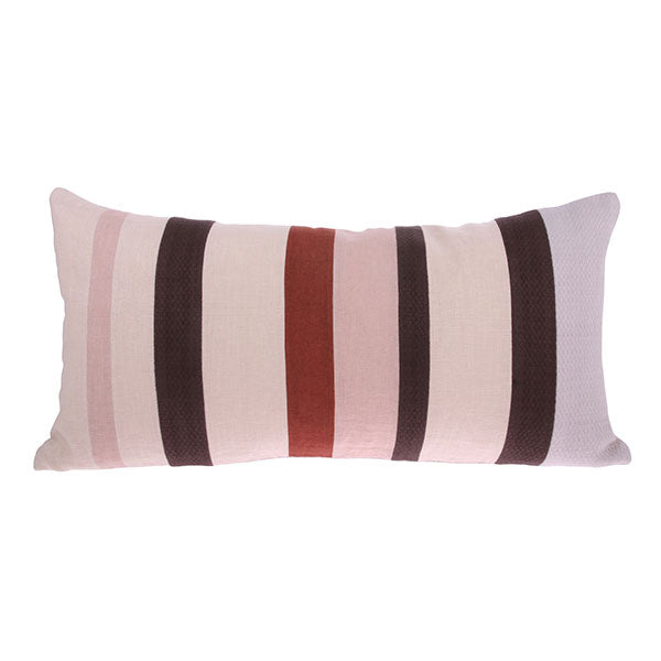 linen and cotton striped lumbar pillow