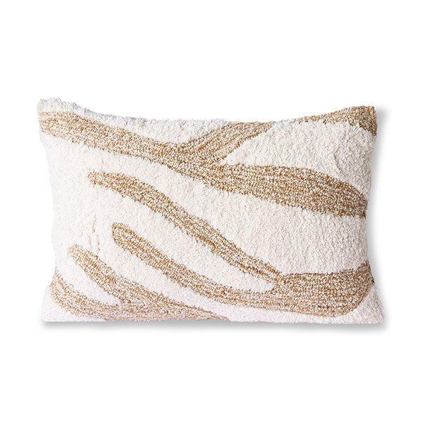 textured lumbar pillow made from cotton in white and beige color