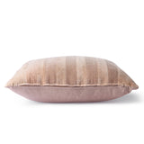 Striped velvet pillow - beige