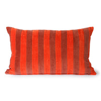 two toned red velvet lumbar pillow