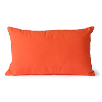 two toned red velvet lumbar pillow back side