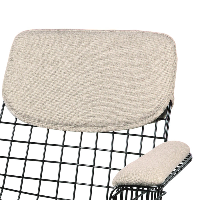 detail of fabric comfort kit in sand color for metal chair