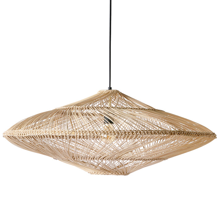 ufo shaped oval wicker pendant light