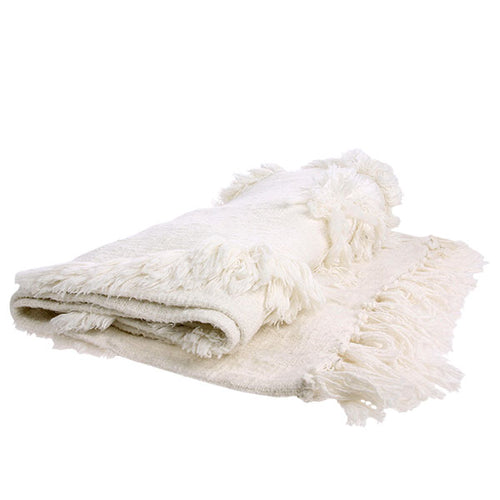 White fringe throw blanket