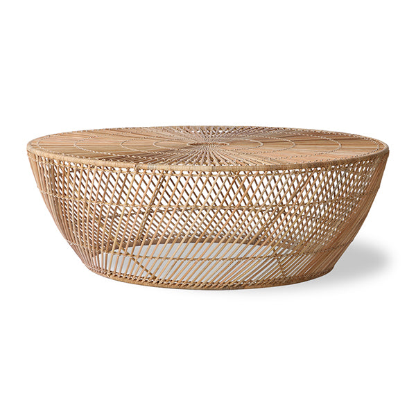 round coffee table made from natural rattan in a contemporary design