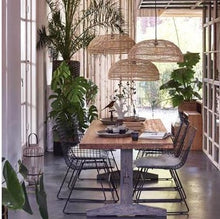 dining table with 3 natural hanging lights