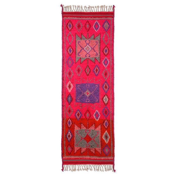 runner made of pink colored wool and blue and grey abstract patterns