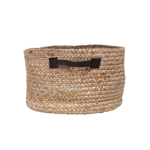 hemp basket with leather straps