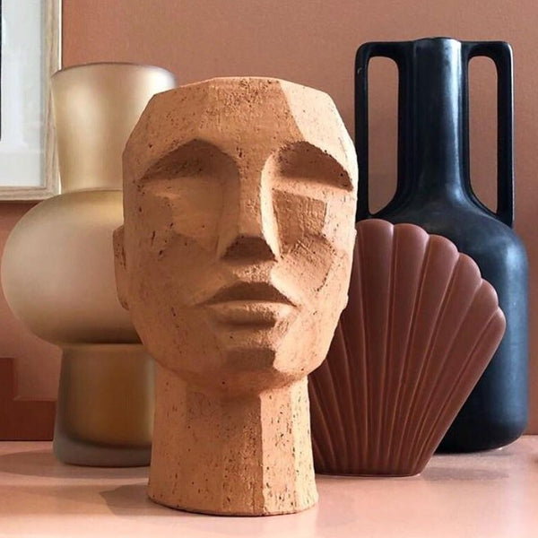 Terracotta head sculpture