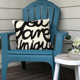 Hand embroidered throw pillow - You are unique