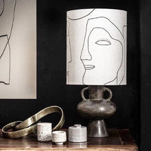 Printed faces table lamp + charcoal base