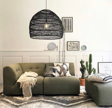 Black Wicker hanging lamp - large