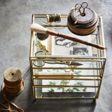glass drawer for desk top made of brass and glass