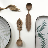 ferns design dinner plate and serving plate with wooden spoons