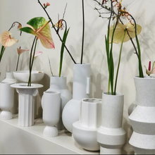 white vases with spring flowers