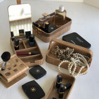 willow wood boxes and holder for make up brushes