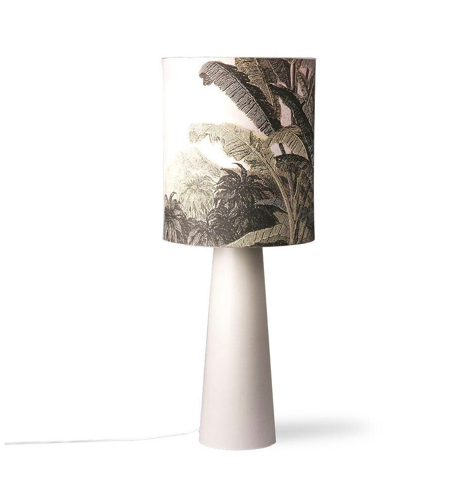 cone shaped grey base and lampshade with jungle print