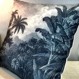 printed cushion with jungle scene in green/grey and black