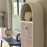 detail of oval shaped retro looking cabinet