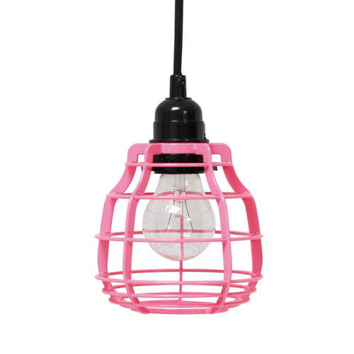 sturdy metal cast pendant lamp in bright pink