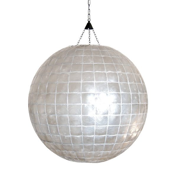 large statement piece lamp in grey mother of pearl with canopy and chain