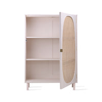 cream white webbing cabinet with door open