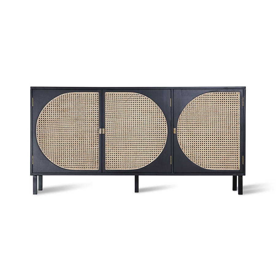 black and cane webbing side board