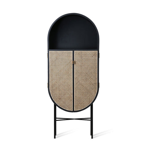 black, oval shaped cabinet with cane webbing doors