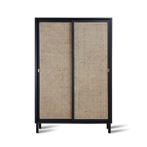 cabinet in black wood with cane webbing sliding doors