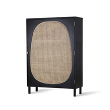 black, single door cabinet with cane webbing accent