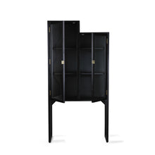 glass and black wood showcase cabinet in staircase shape