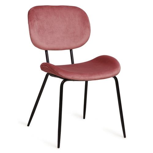 Are you looking for a modern dining chair with a retro touch?This dining chair is very elegant yet sturdy and has a velvet seat and back. The legs are made of black metal. A nice twist to a modern design, inspired by the