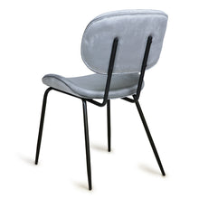 grey velvet chair with black metal legs