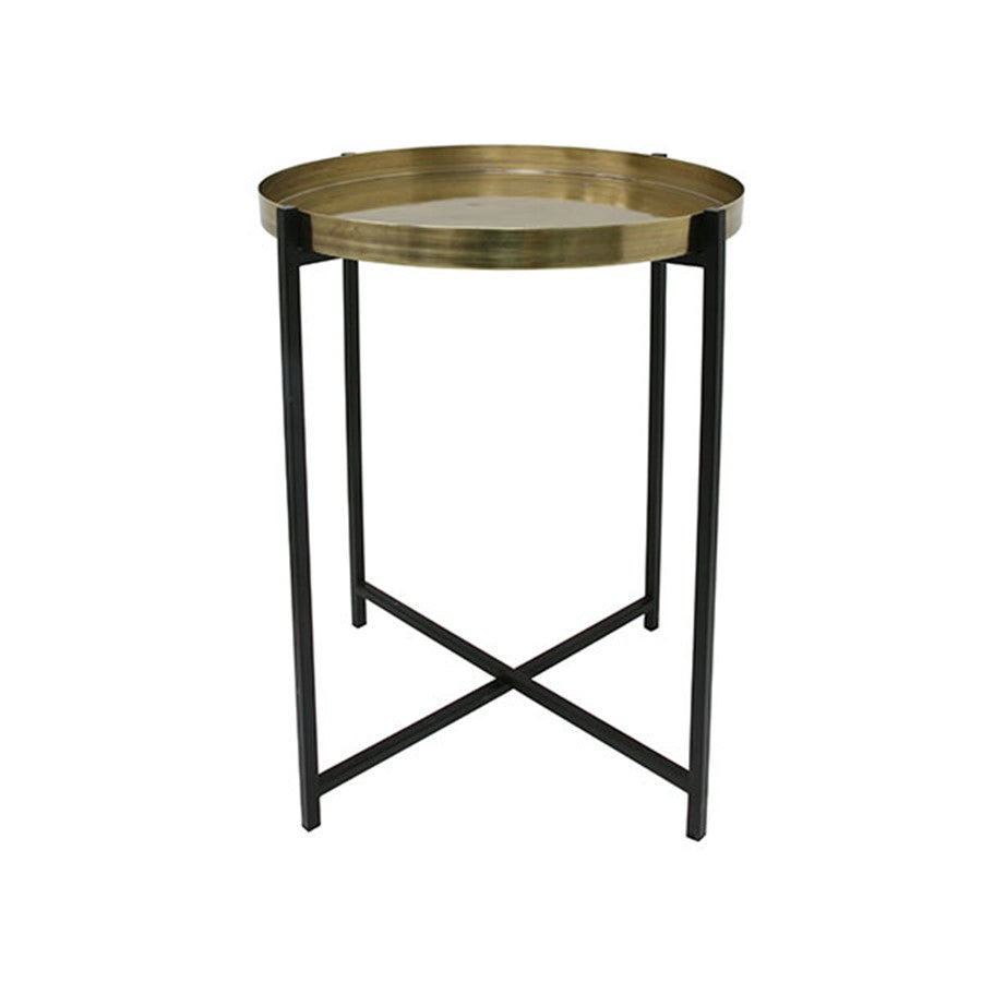 brass and black folding side table with tray
