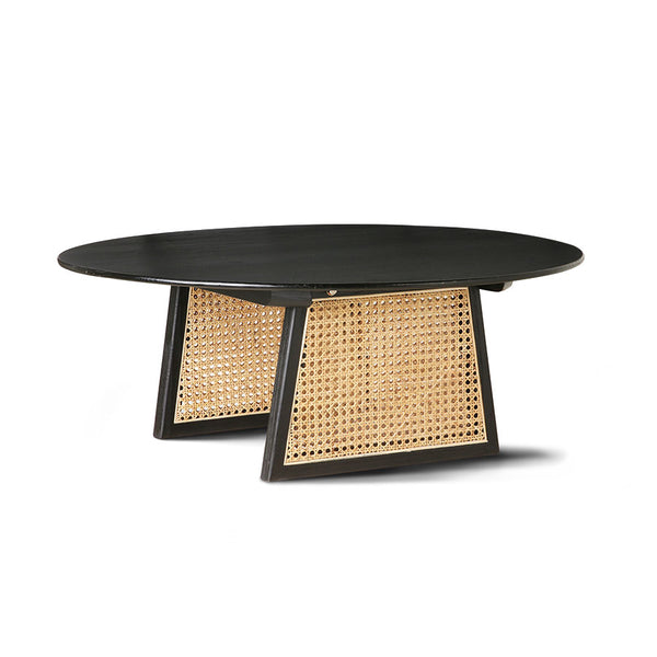 mta2819 black coffee table with cane webbing detail base