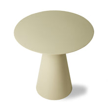 off white colored metal side table with cone shaped base