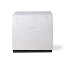 White marble block table - L