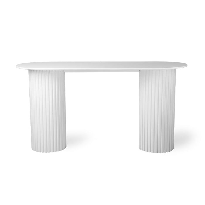 oval shaped white side table with pillar base