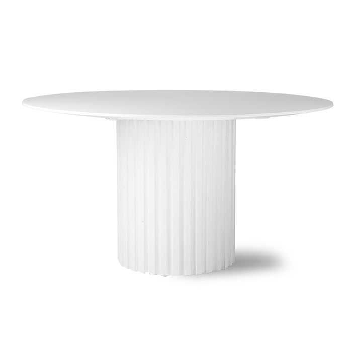 round white wooden dining table with pillar base