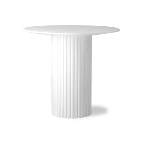 white pillar base table