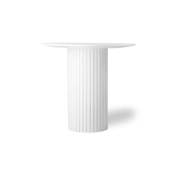 white table with pillar inspired base