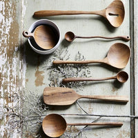 organic spoons on a table