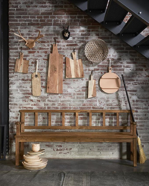 hk living USA wooden breadboard used as art piece on a gallery wall in kitchen