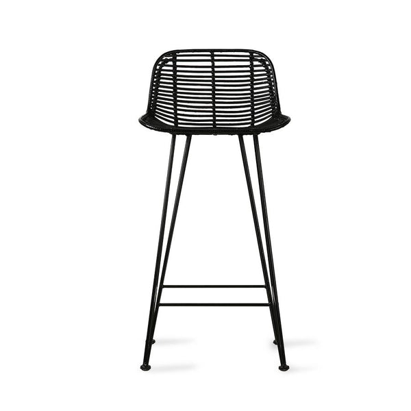 black rattan counter stool back side