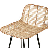natural hand braided rattan counter stool seating area