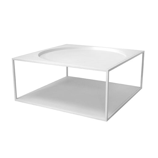 square coffe table made of steel in white